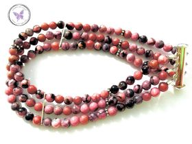 Three Strand Rhodonite Healing Bracelet